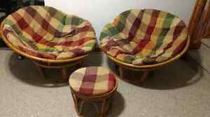 Matching Papasan Chairs and Stool with cushions included!