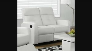 RECLINER LOVE SEAT IN WHITE BONDED LEATHER FOR ONLY 499$