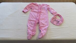 Baby Girl Juicy Couture Pale Pink Sleeper /Bib Size 6-9 Mths