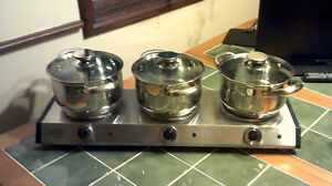 cook top 3 burner set with 3 stainless steel pots - glass lids