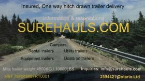 One way personal hitch drawn trailer towing, delivery