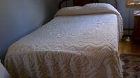 chenille bedspread...cream white double