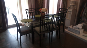 KITCHEN DINING GLASS TABLE WITH 6 CHAIRS
