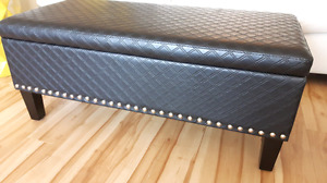 Black Quilted Faux Leather Ottoman