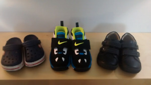 Toddler size 9 shoes - Crocs, Nike, Dress shoes