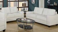 Sofa et causeuse en vrai cuir reconstitué blanc