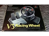 PlayStation 1 boxed steering wheel and pedals