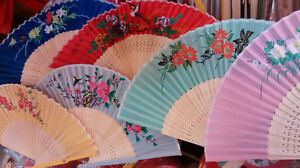 """9"""" color silk fans $1.50 each when purchase a box of 12 pieces"""