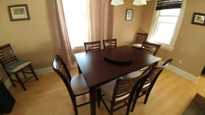 Dining room table with 8 chairs and lazy suzan $480 obo