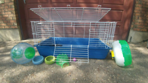 Cage and accessories for Hamster, hedgehog, or...