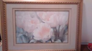 Pink flower picture in a glass frame