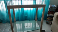 square display table with 2 glass shelves