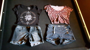 2 crop tops size 2 shorts, size S, XS