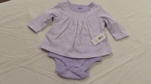 NWT Old Navy One Piece Mauve/White Stripe Romper Size 0-3 Mths
