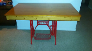 Red Singer and Pine Hall Table
