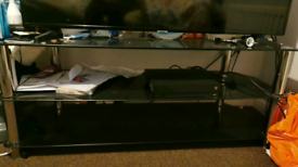 Tv stand 55inch tv on it with more room left