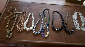 8 chunky beaded necklaces