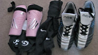 Ladies soccer shoes, shin pads and stockings