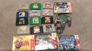 N64 games with boxes and manuals.