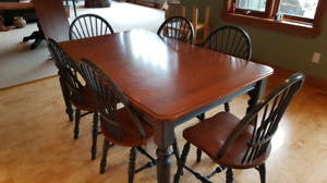 Hardwood Canadian Dinning table set with 6 chairs