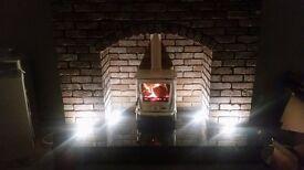 Cream multi fuel stove 8-11 kw heat for large room burn turf coal wood