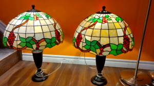 Tiffany ceiling light ,table lamps and floor lamp