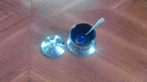 Vintage Cobalt Blue and Silver plated Bowl with Spoon