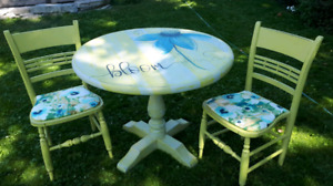 Hand painted Table and 2 chairs