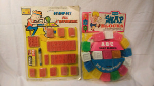 Vieux jouets années 60 ou 70 toujours emballés! snap block Stamp