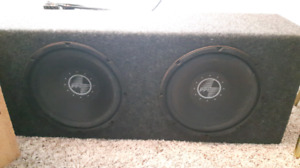Two 10in boxed subs with amp