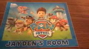 Personalized paw patrol room sign