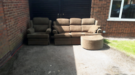 FREE DELIVERY!! MARKS AND SPENCER 3+1 SEATER SOFAS AND POUFFE