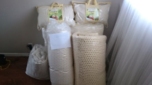 2 Twin/King Organic Latex Mattresses 2 Organic Latex Pillows