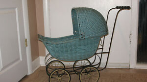 GREEN WICKER DOLL CARRIAGE - ANTIQUE