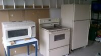 refrigerator, stove, microwave for sale