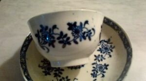 Antique china tea bowl and saucer - blue and white