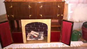 Artificial Fireplace with music player and mini bar London Ontario image 3