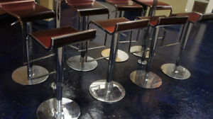 Bar Stools: Unique wood and chrome
