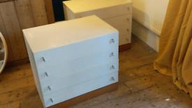 Vintage Schreiber 1970s white drawers chest pair