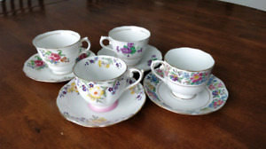 4 assorted bone china teacups