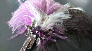 Beautiful Feather and Crystal Hair Accessory
