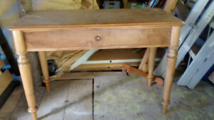 Solid walnut writing desk w drawer