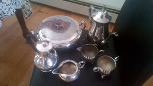 Vintage silver plate coffee sets and warming dish