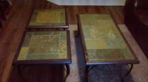 REDUCED! Pier One Wrought Iron & Ceramic Tile Coffee Table Set