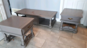 2 SIDE TABLES and COFFEETABLE