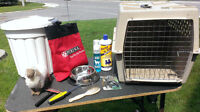 dog crate and grooming accessories