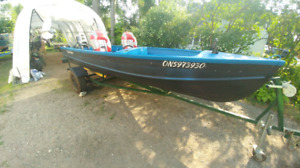 14 ft Fishing Boat, 30 HP Johnson, and trailer
