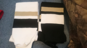 New L black white gold (Penguins) hockey socks