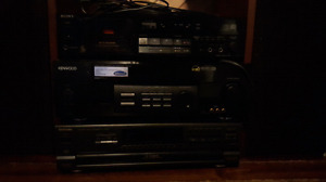Sony cassette player and Kenwood 6 disc cd player