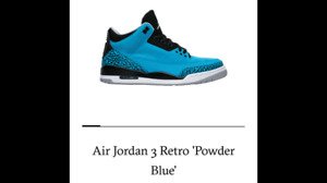check out 0916d bacf2 AIR JORDAN RETRO 3 POWDER BLUE
